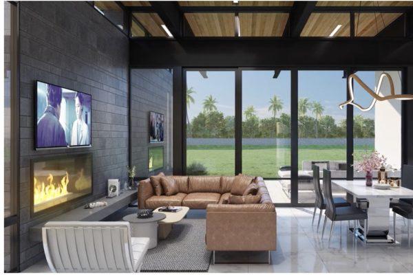 Contemporary Living Room in San Antonio Custom Home