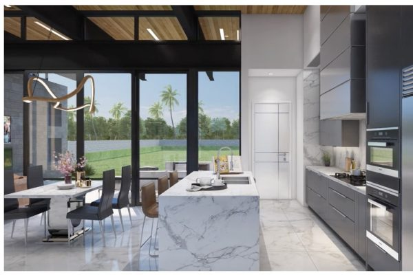 Contemporary Kitchen With White Marble Floors and Countertops