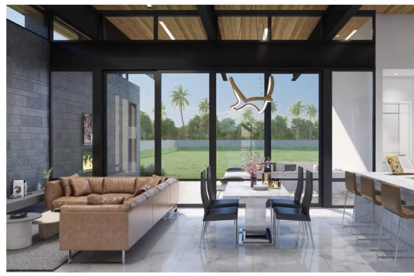 Contemporary Living Room with Floor to Ceiling Windows