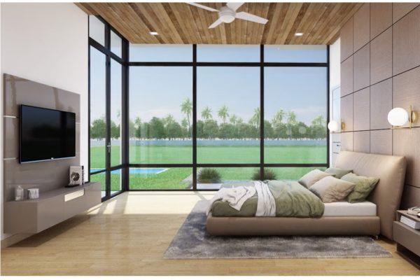 Floor to Ceiling Windows in Modern Master Bedroom