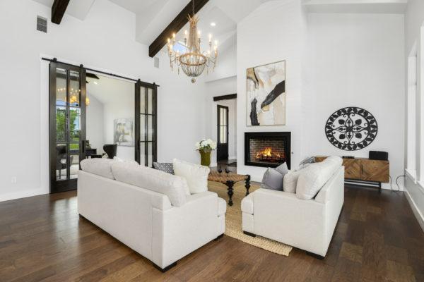 Office Open to Living Room in San Antonio Custom Home