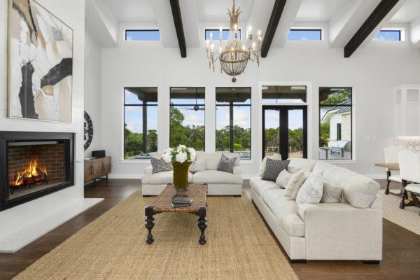 Clerestory Windows in San Antonio Modern Farmhouse Living Room
