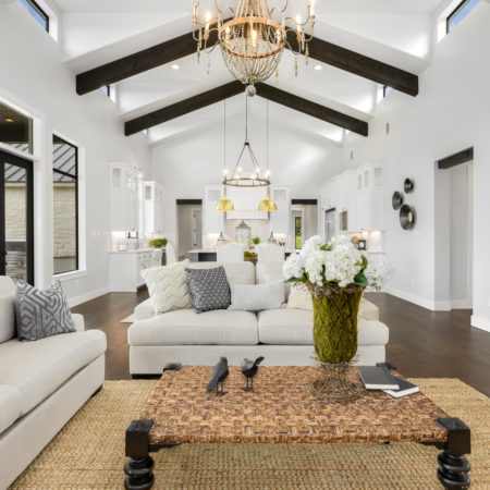 Modern Farmhouse White Bright Wall Living Room in the Springs of Cordillera Ranch