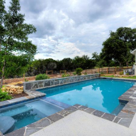 Gray Stone Edged Pool in San Antonio