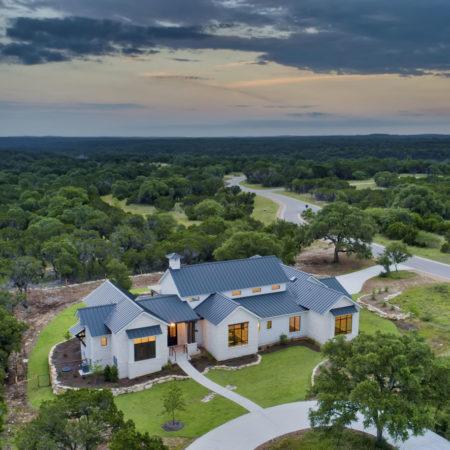 Hill Country Modern Farmhouse Aerial View