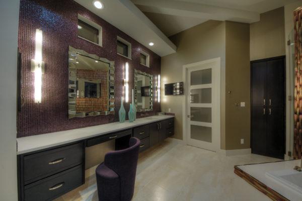 Glass Panel Doors in Master Bath - San Antonio Custom Home