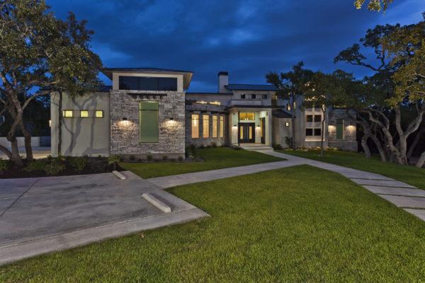 Contemporary Home at Dusk - San Antonio Custom Home