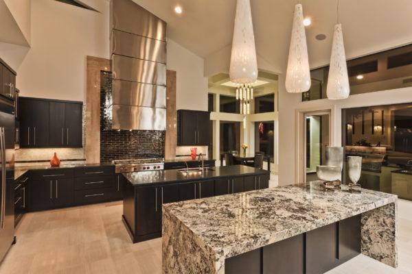 Marbled Dining Island - San Antonio Custom Home