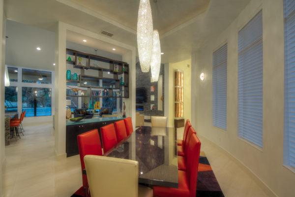 Contemporary Dining Room Adjacent to Living Room - San Antonio Custom Home