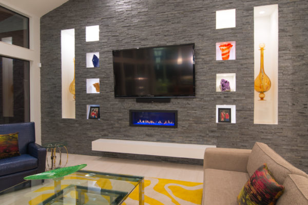 Diagonal Ceiling in Contemporary Living Room - San Antonio Custom Home