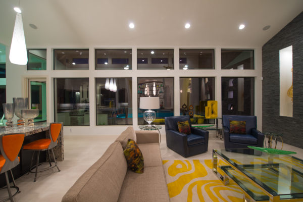 Double Window Panels in Contemporary Living Room - San Antonio Custom Home