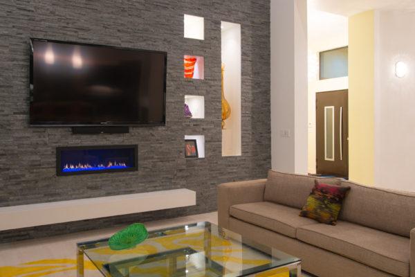 Contemporary living room - San Antonio Custom Home