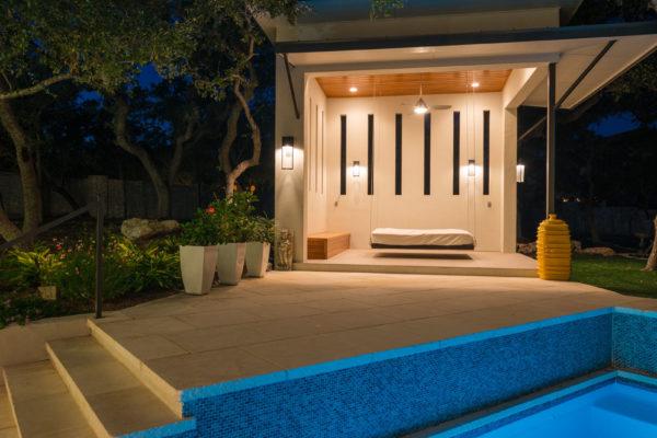 Contemporary Pool Shelter at Night - San Antonio Custom Home