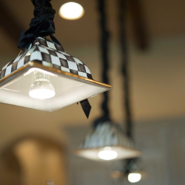 Checkered Light Fixture in Tuscan Style Home