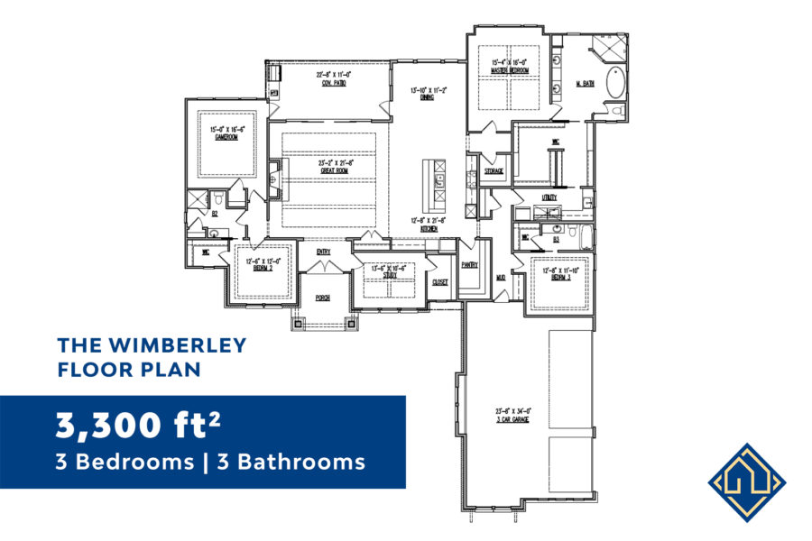 3 Bedroom Floor Plan for San Antonio Custom Home