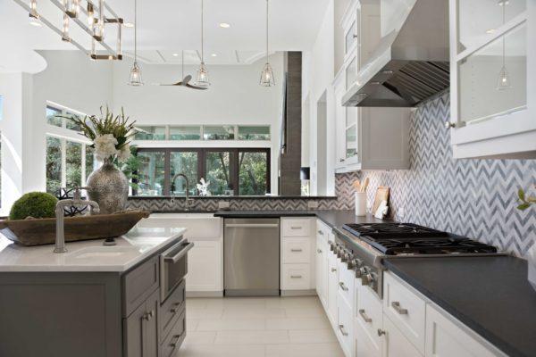 Modern Kitchen with Chevron Backsplash Open to Great Room
