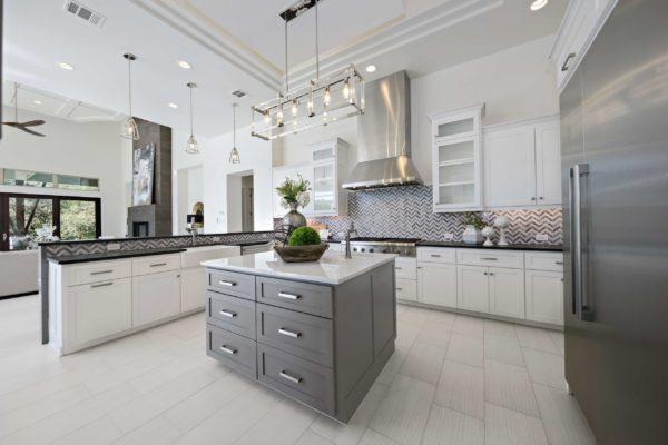Bright White Modern Kitchen with Island in San Antonio